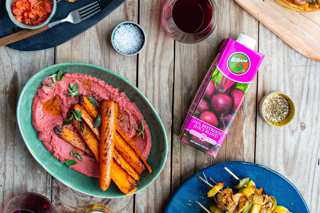 Braai-Roasted Rugani Carrots with a beetroot butter bean Hummus